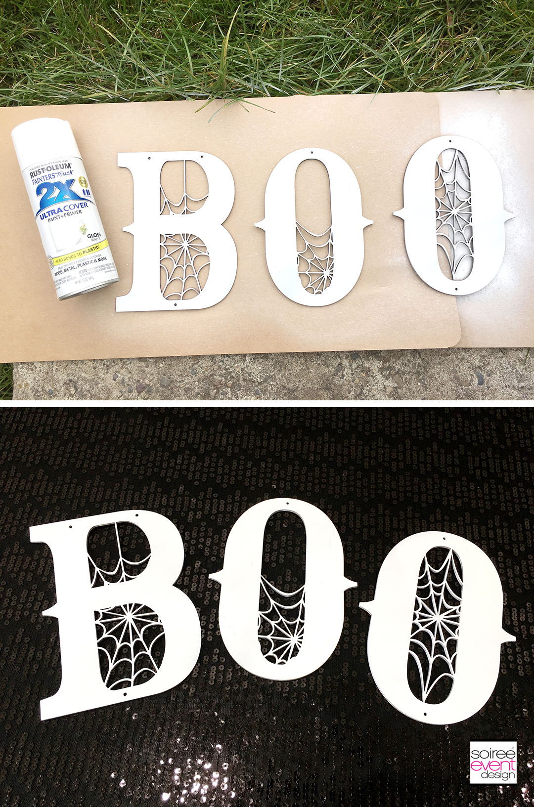 Black and White Boo Wall Sign - Step 2
