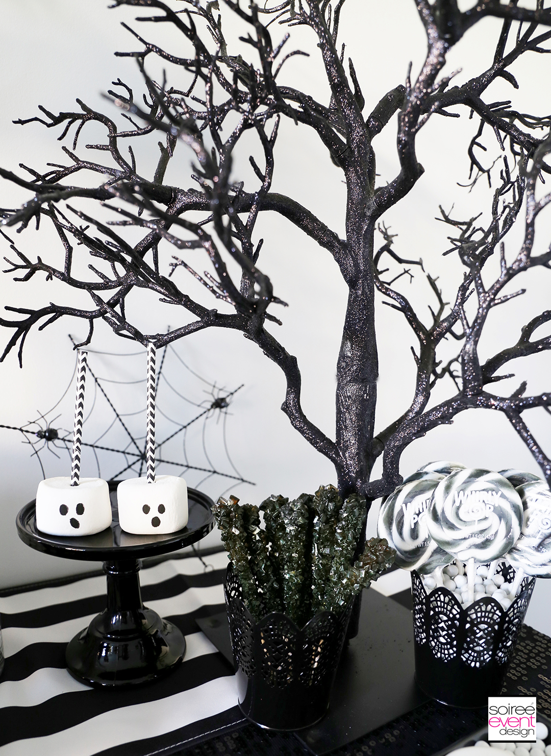 Black and White Halloween Party - Black Glitter Tree
