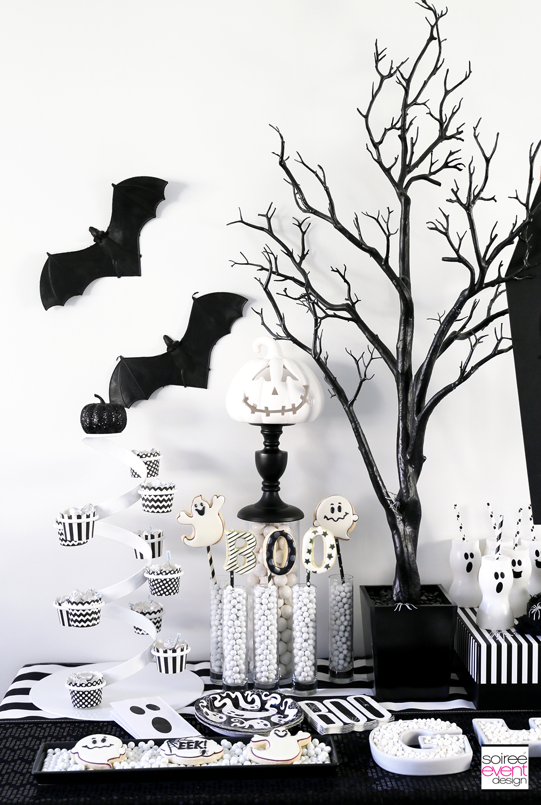Black and White Halloween Party - Black Manzanita Tree