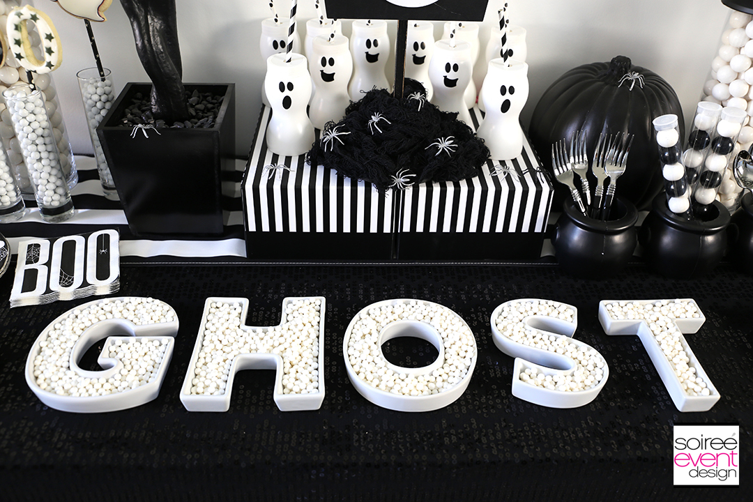 Black and White Halloween Party - Ceramic letter dishes