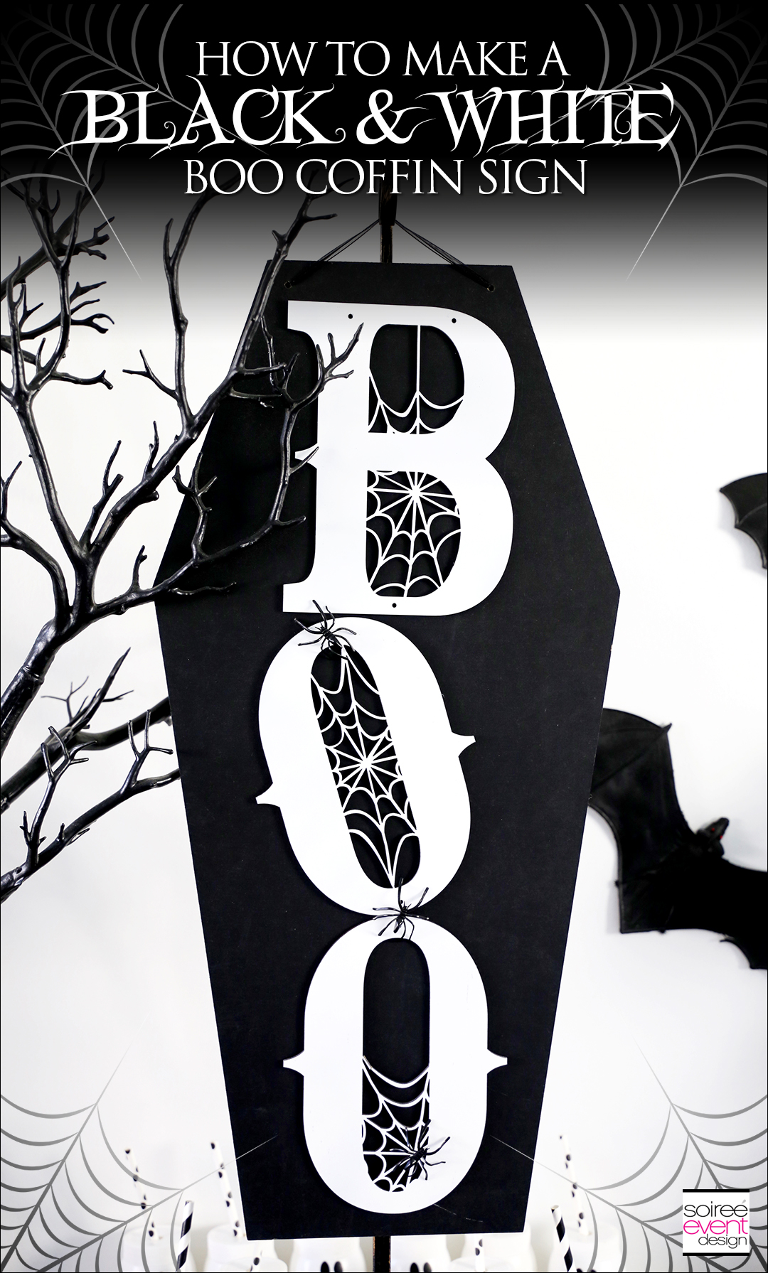 Black and White Halloween Party - DIY Boo Coffin Wall Sign