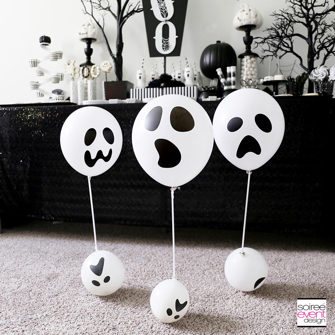Black and White Halloween Party - Ghost Balloon Floaters