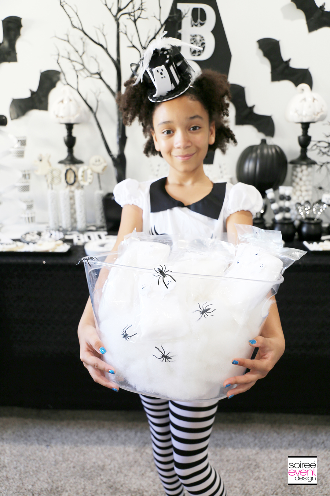 Black and White Halloween Party Ideas - White Cotton Candy