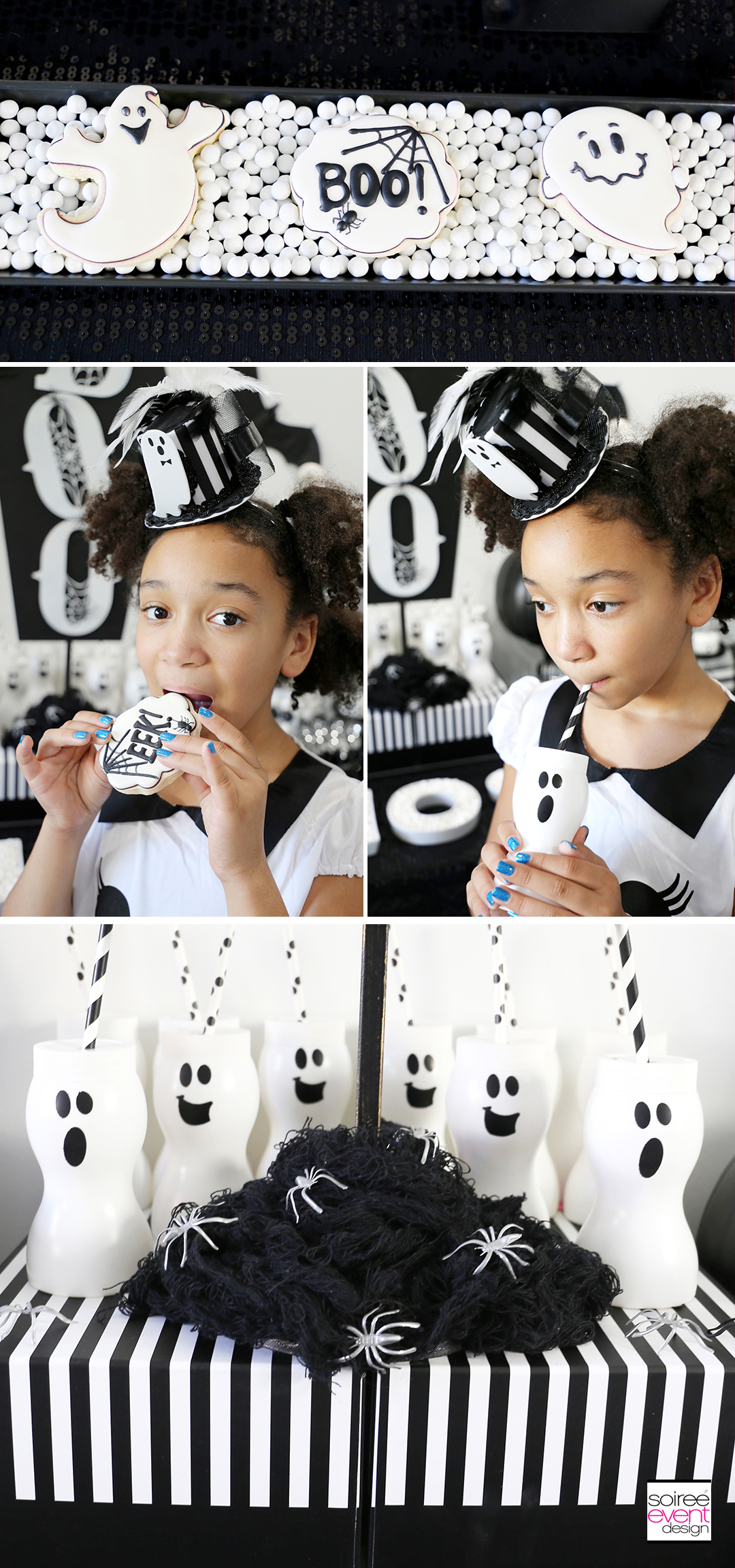 Black and White Halloween Party - ghost cups and cookies