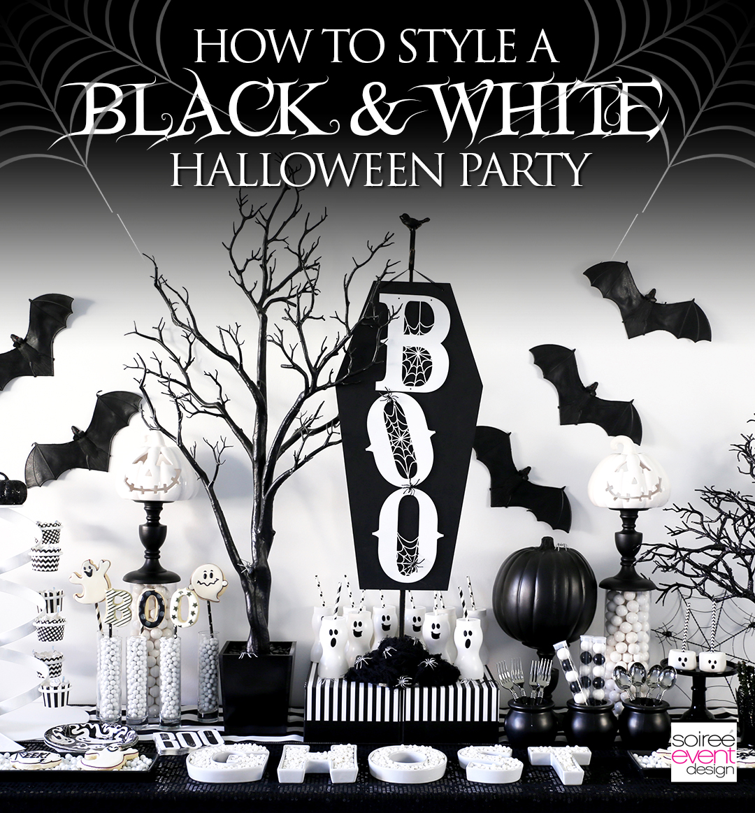 BOO Black and White Halloween Party - Soiree Event Design