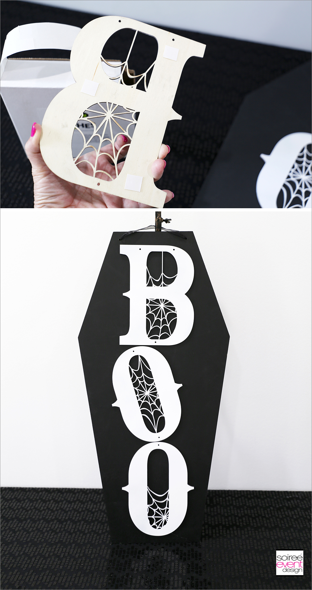 DIY Black and White Boo Wall Sign - Step 3