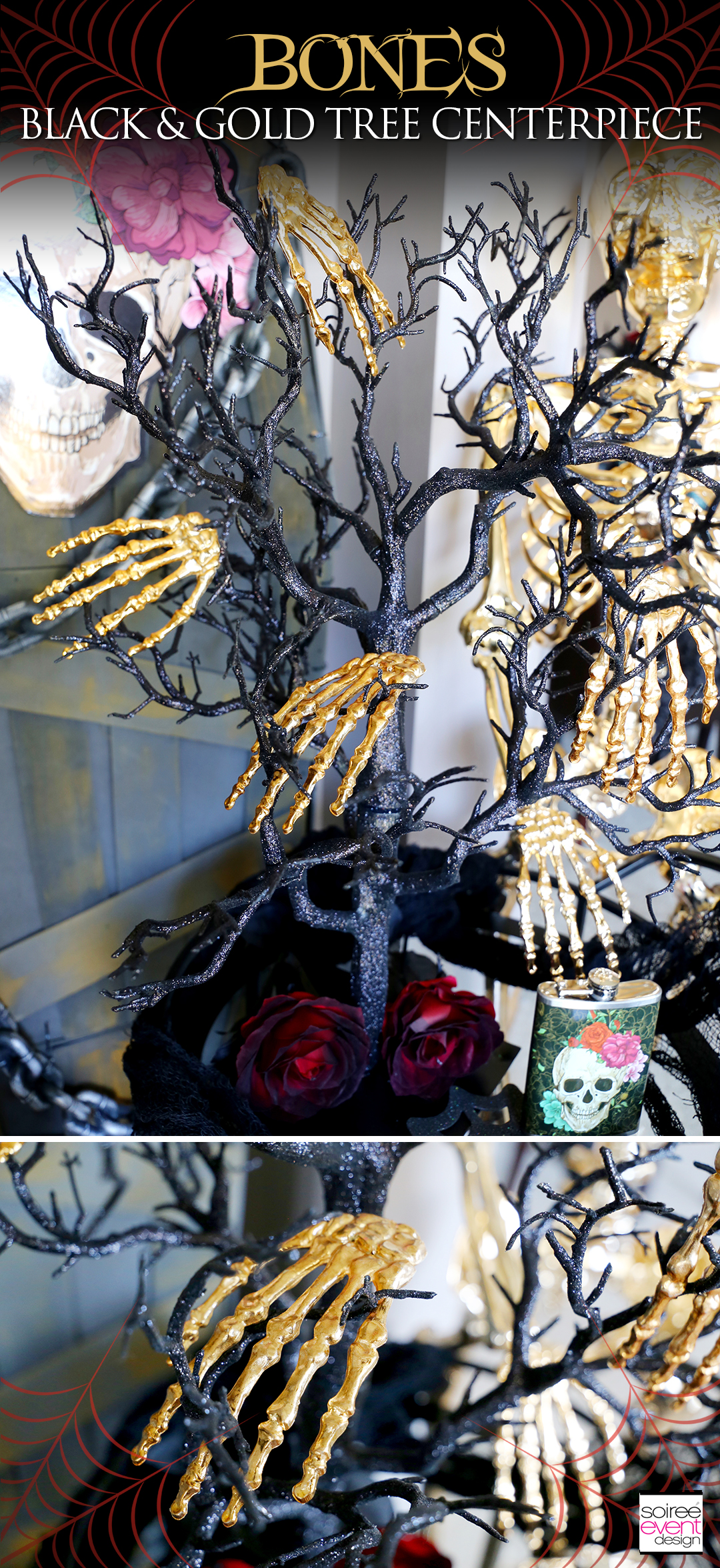 Day of the Dead Entryway - Bones Black and Gold Tree