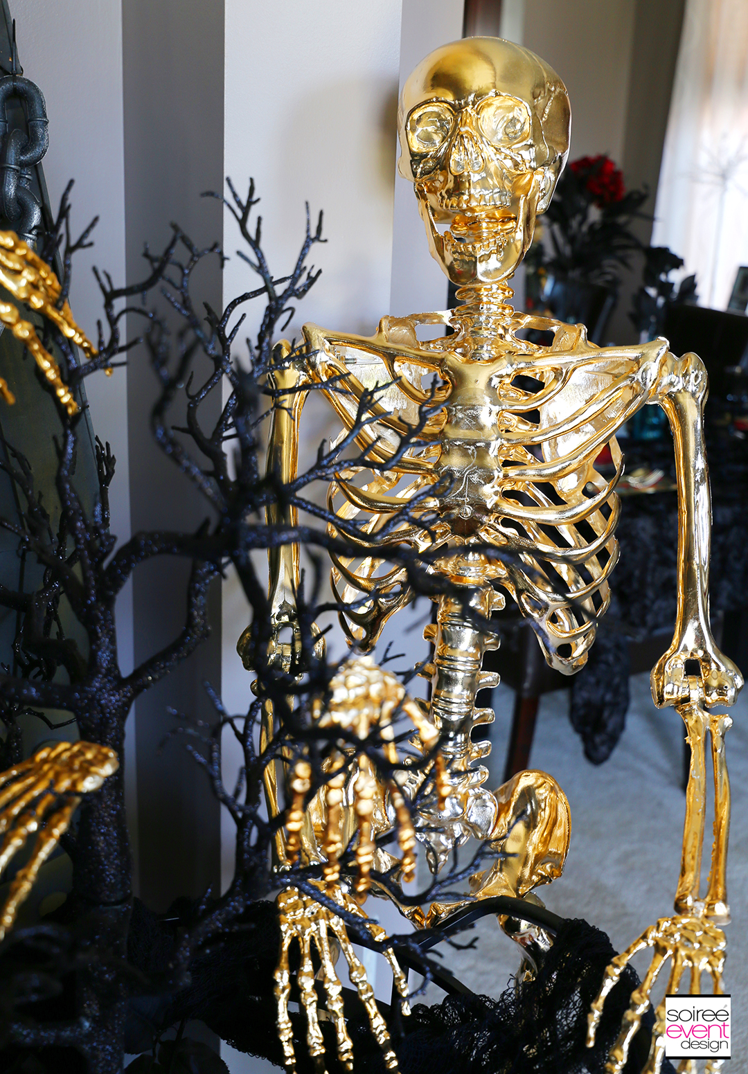 Day of the Dead Entryway - Gold Skeleton