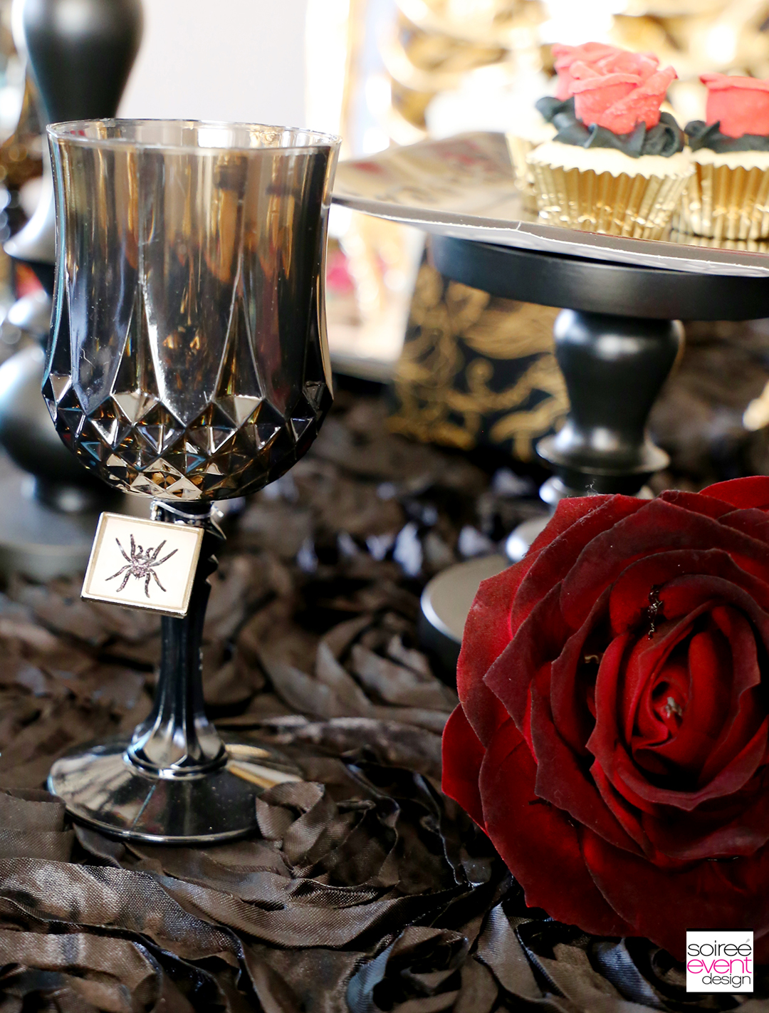 Day of the Dead Party Ideas - Black Wine Glasses