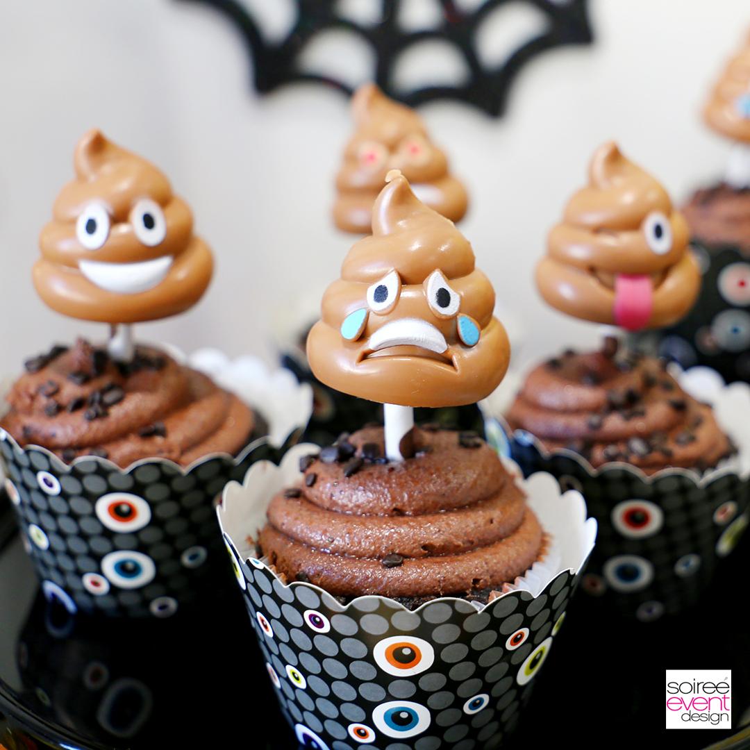 Emoji Halloween Party Idea - Emoji Poop Cupcake Toppers