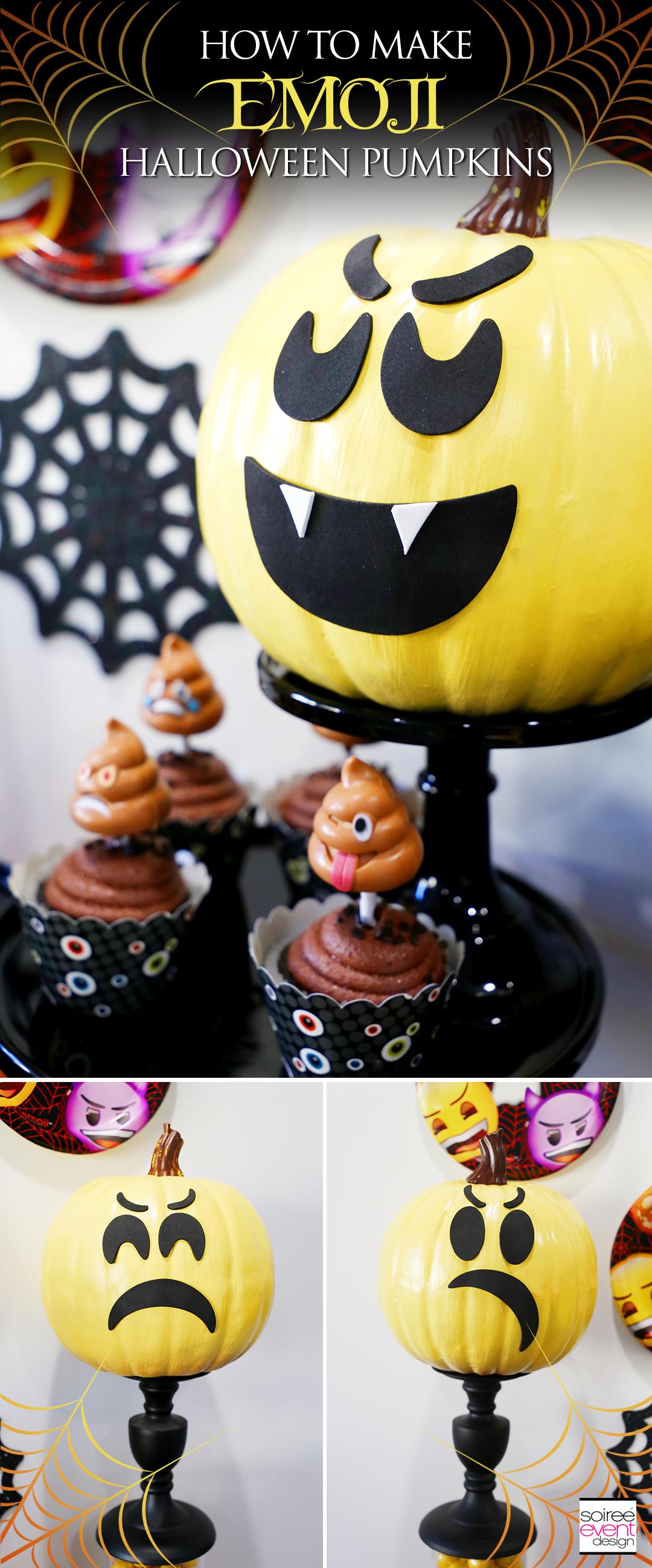 Emoji Halloween Party Ideas - DIY Emoji Pumpkins