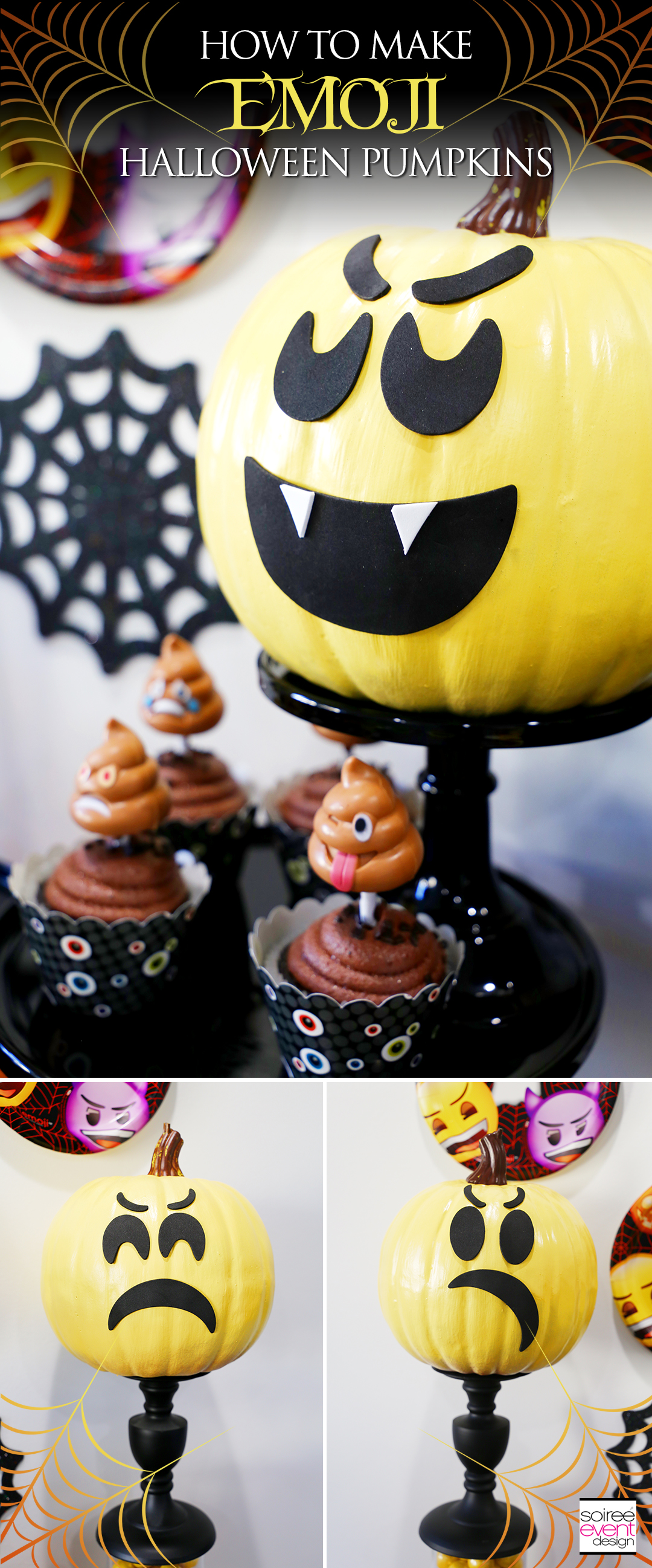 Emoji Halloween Party Ideas - DIY Emoji Pumpkins