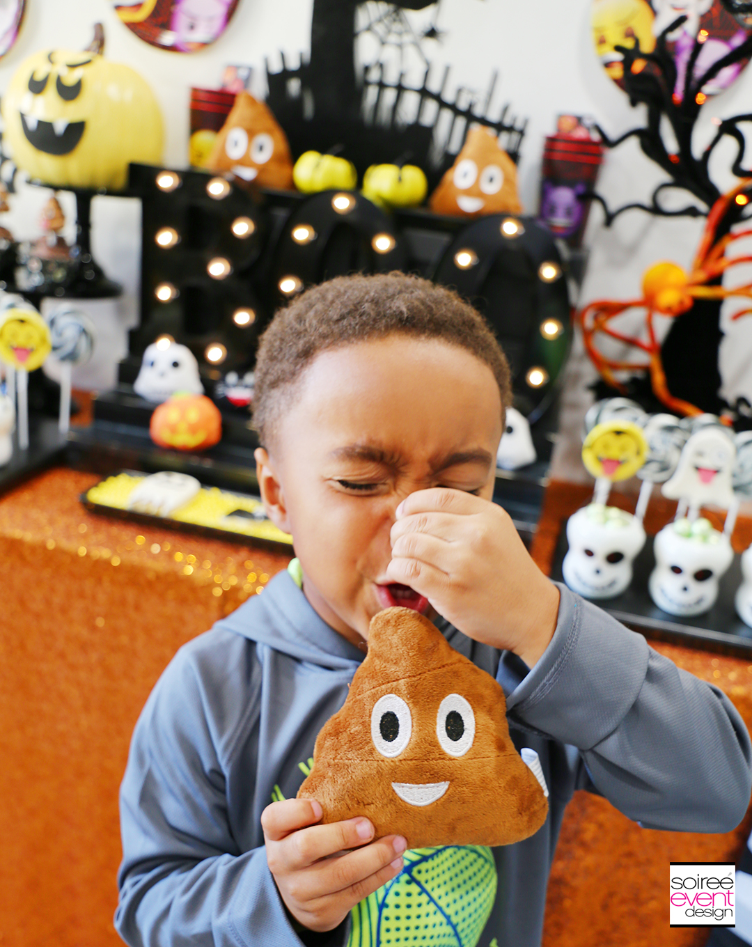 Emoji Halloween Party Ideas - Plush Poop Emoji