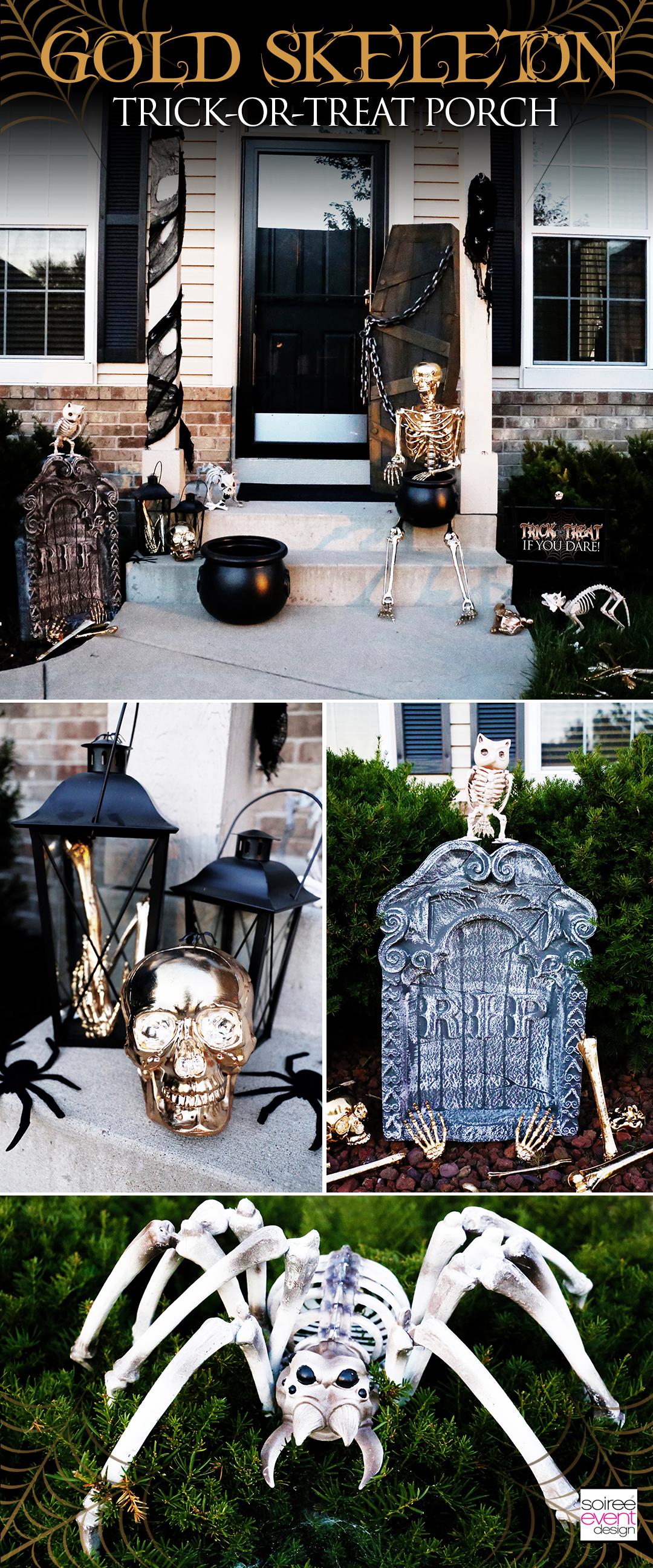 Gold Skeleton Bones Halloween Trick-or-Treat Porch