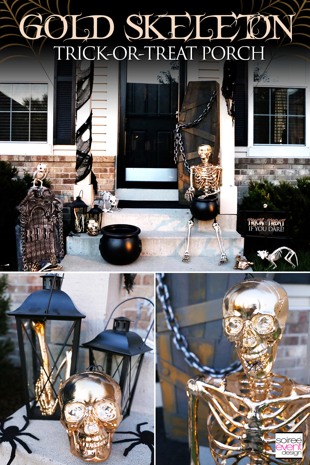 Check out these Gold Skeleton Halloween Porch Ideas that will give your house that spooky, yet sparkly glam look! #soireeeventdesign #halloweenporch #halloweendecorating #goldhalloween #goldskeleton