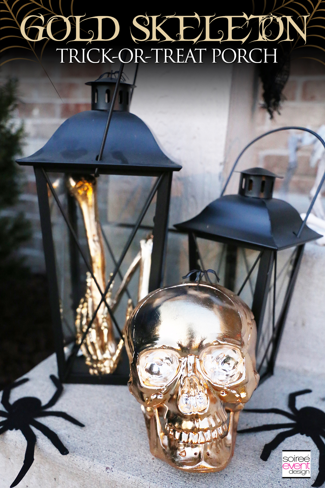 Gold Skeleton Halloween Porch