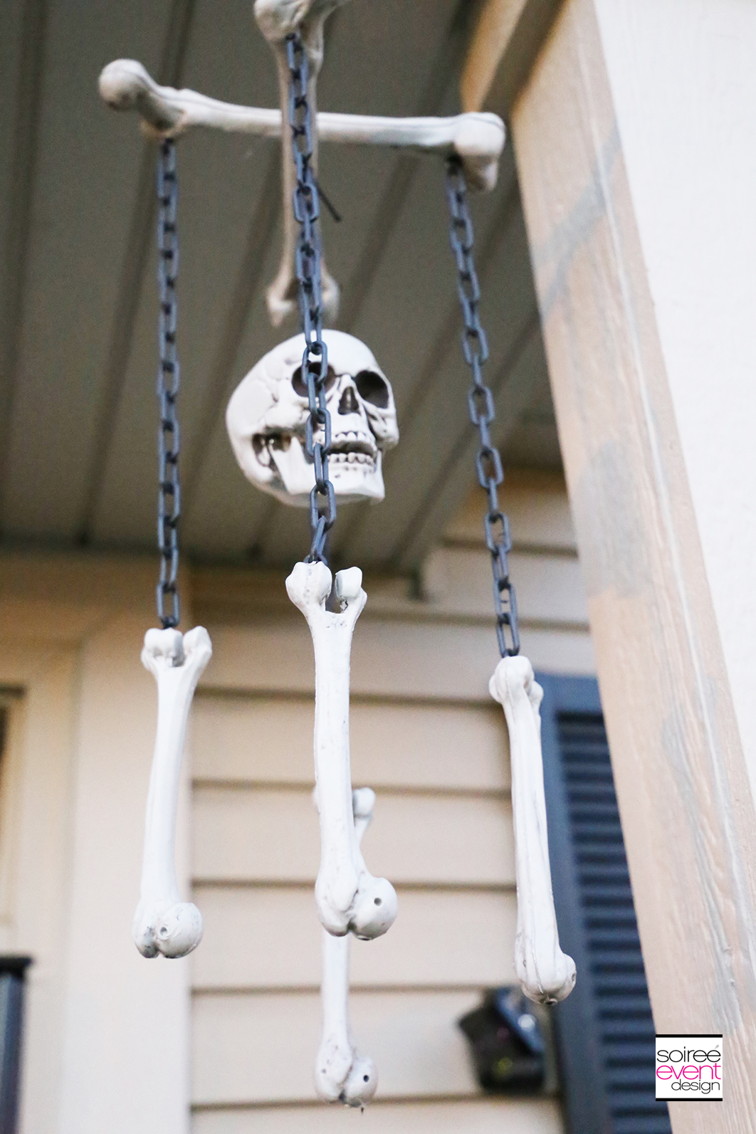 Halloween black gold porch_skeleton chandelier