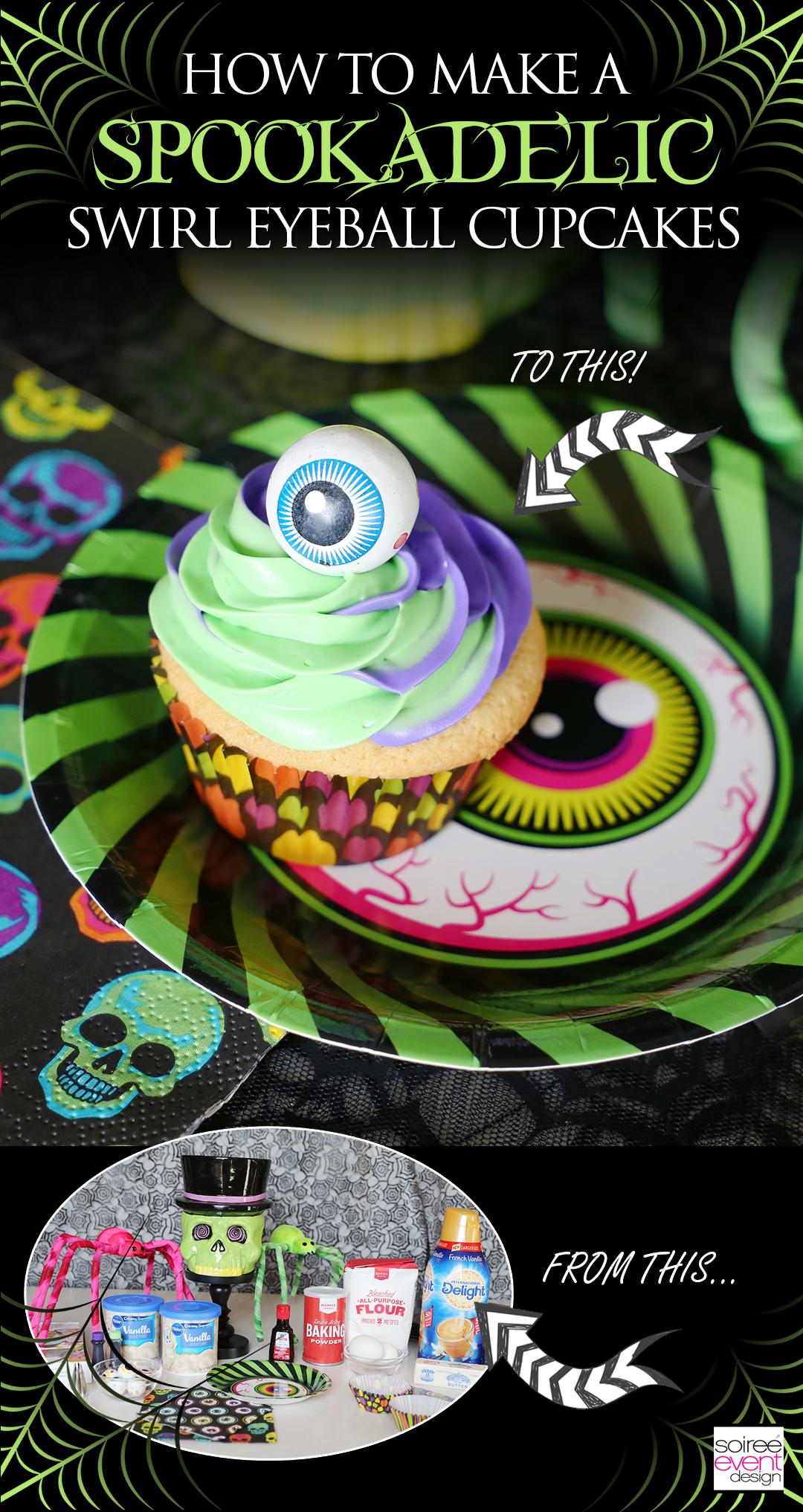 Spookadelic Halloween Party Swirl Eyeball Cupcakes