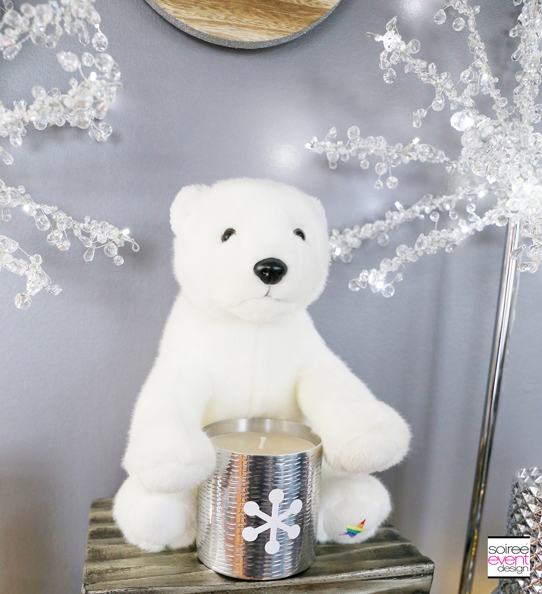 Farmhouse Holiday Decor - Plush Polar Bear