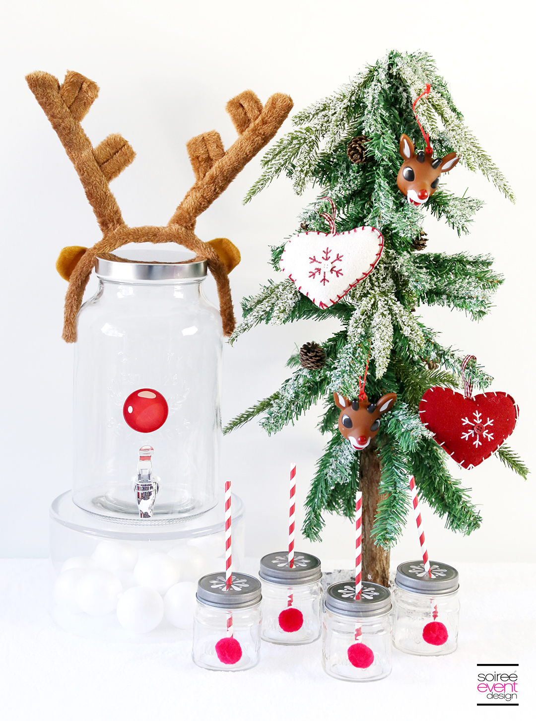 DIY Rudolph Party Drink Station