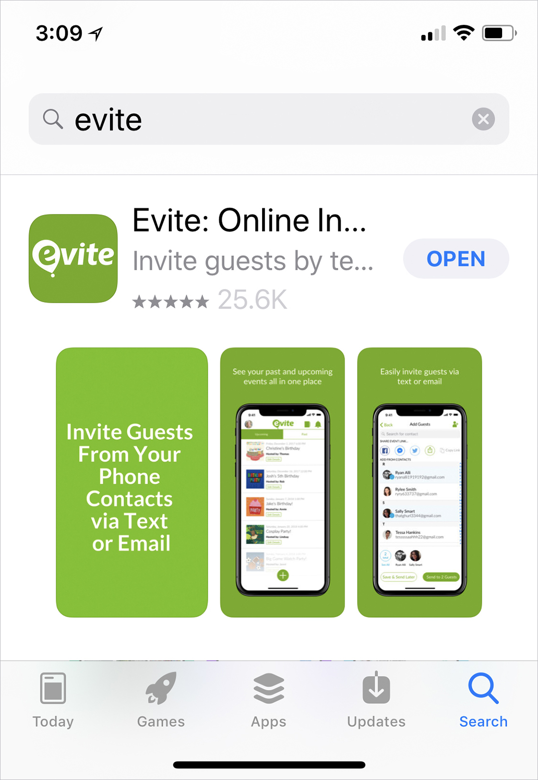 Evite Text Party - Step 1