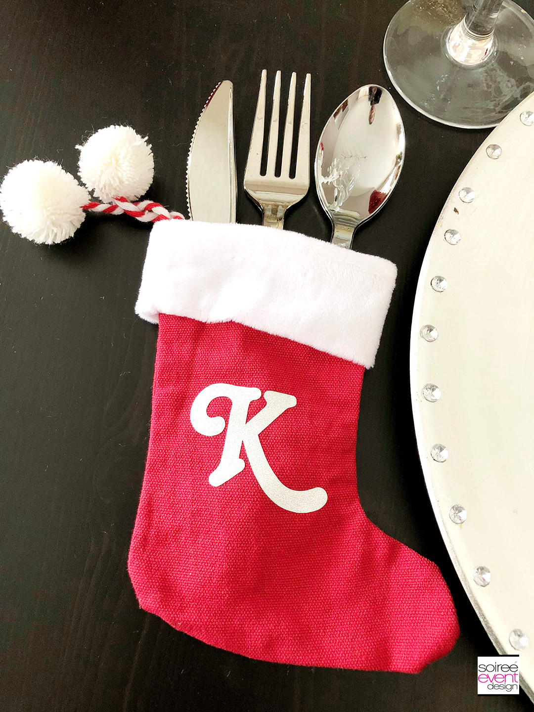 Personalized Christmas Tablescape - utensil holder