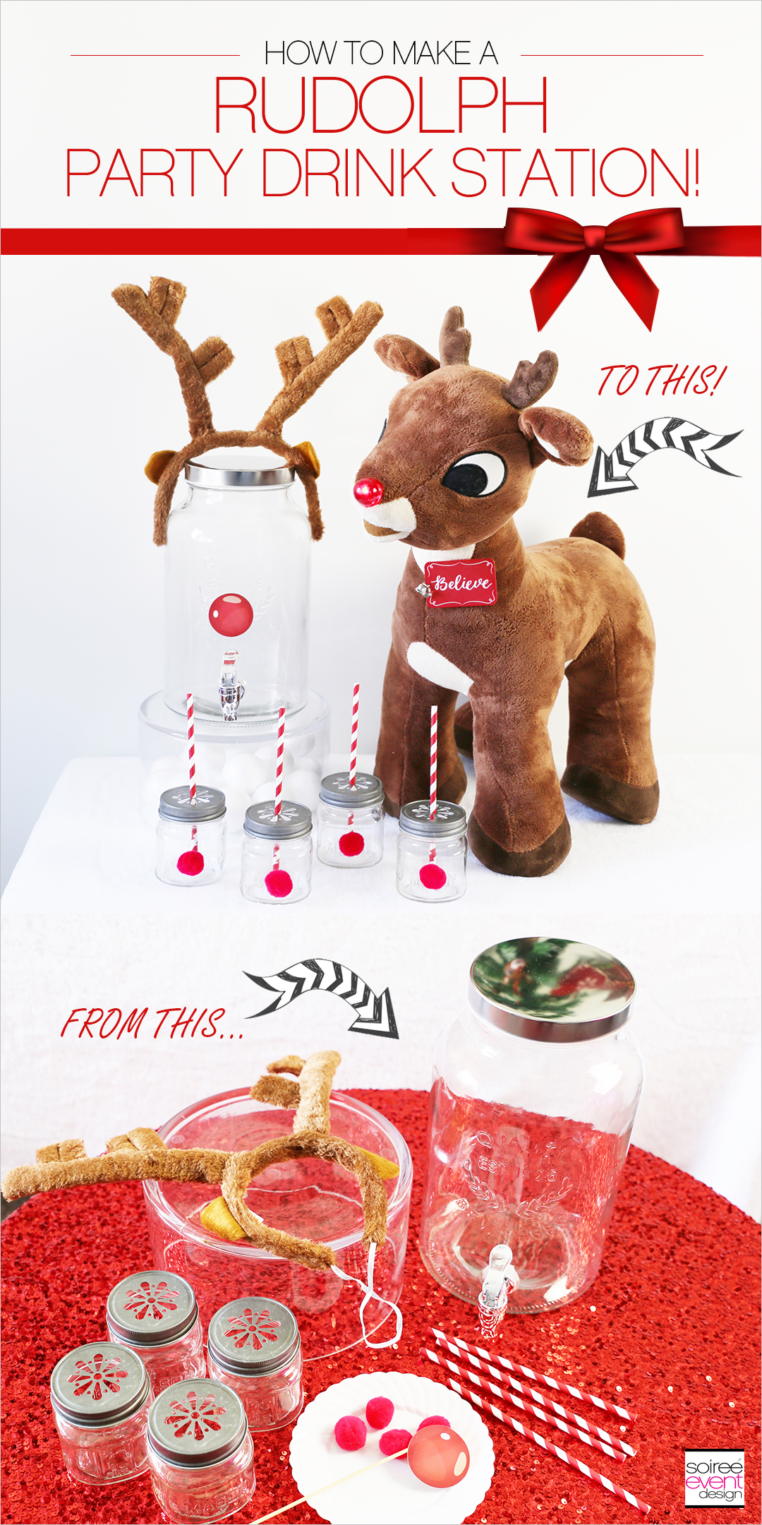 Rudolph Party Drink Station + DIY Dispenser