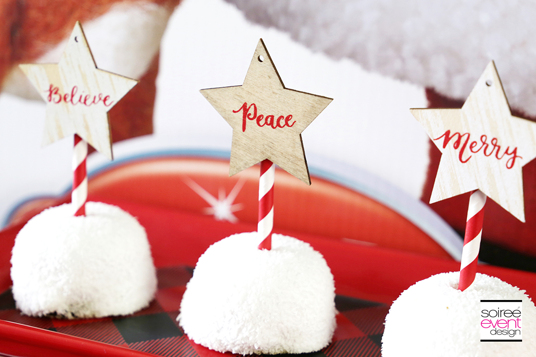 Rudolph Party Ideas - Wood Cupcake Toppers