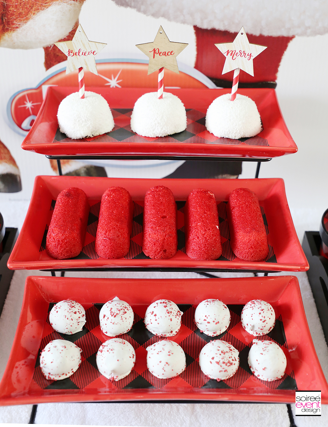 Rudolph Party Ideas - buffalo plaid dessert tray