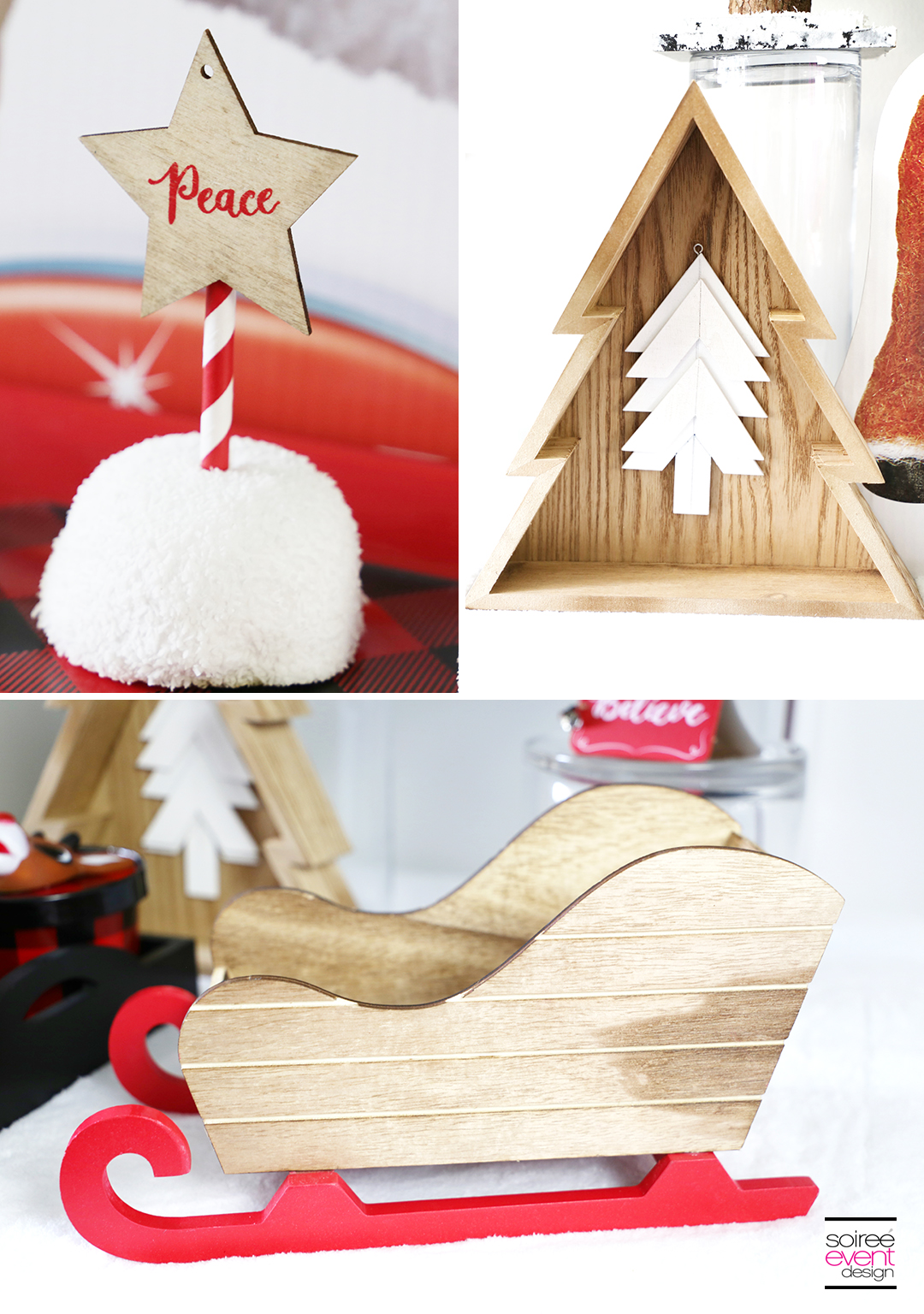 Rudolph Party Ideas - wood holiday decorations