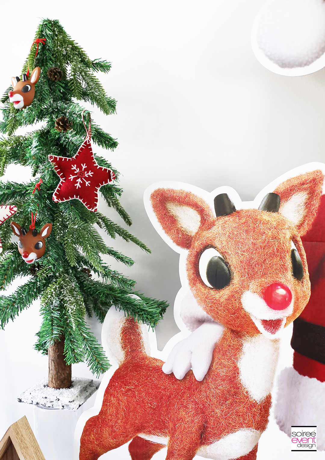 Rudolph Party Ideas - woodland trees decorations