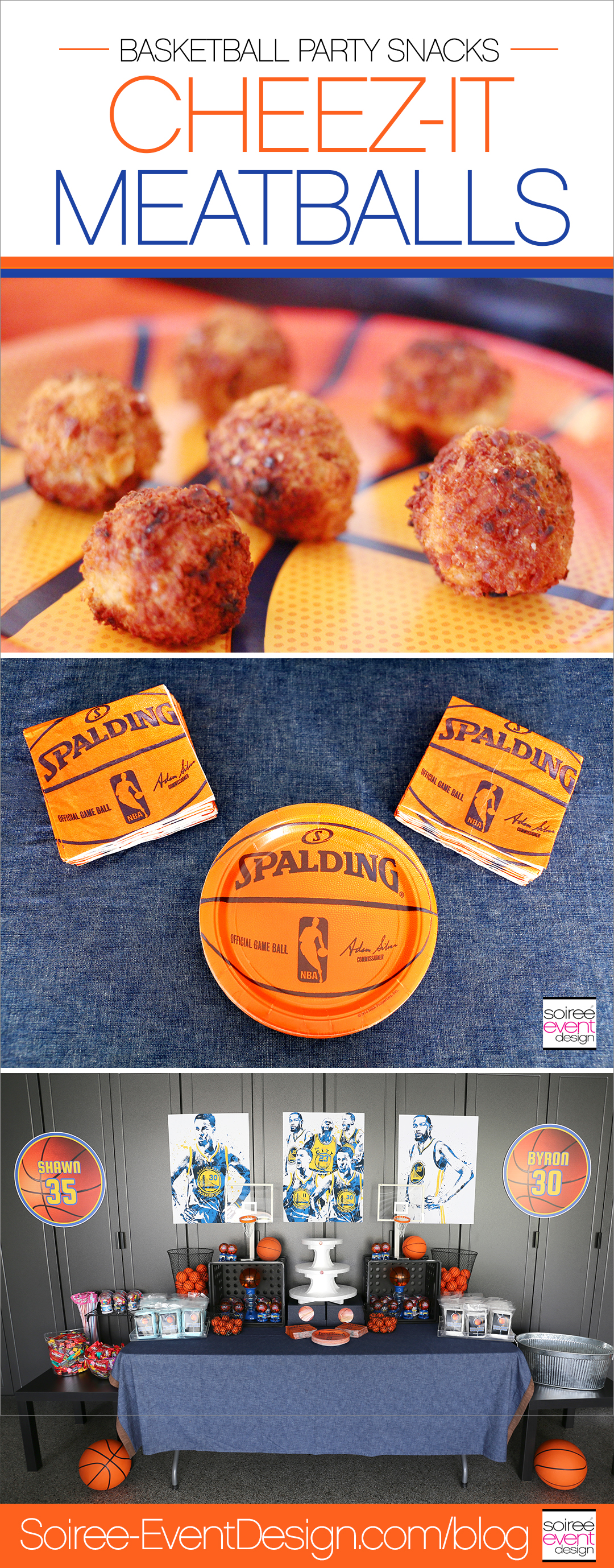 Basketball Party Snacks - Cheez-It Meatballs