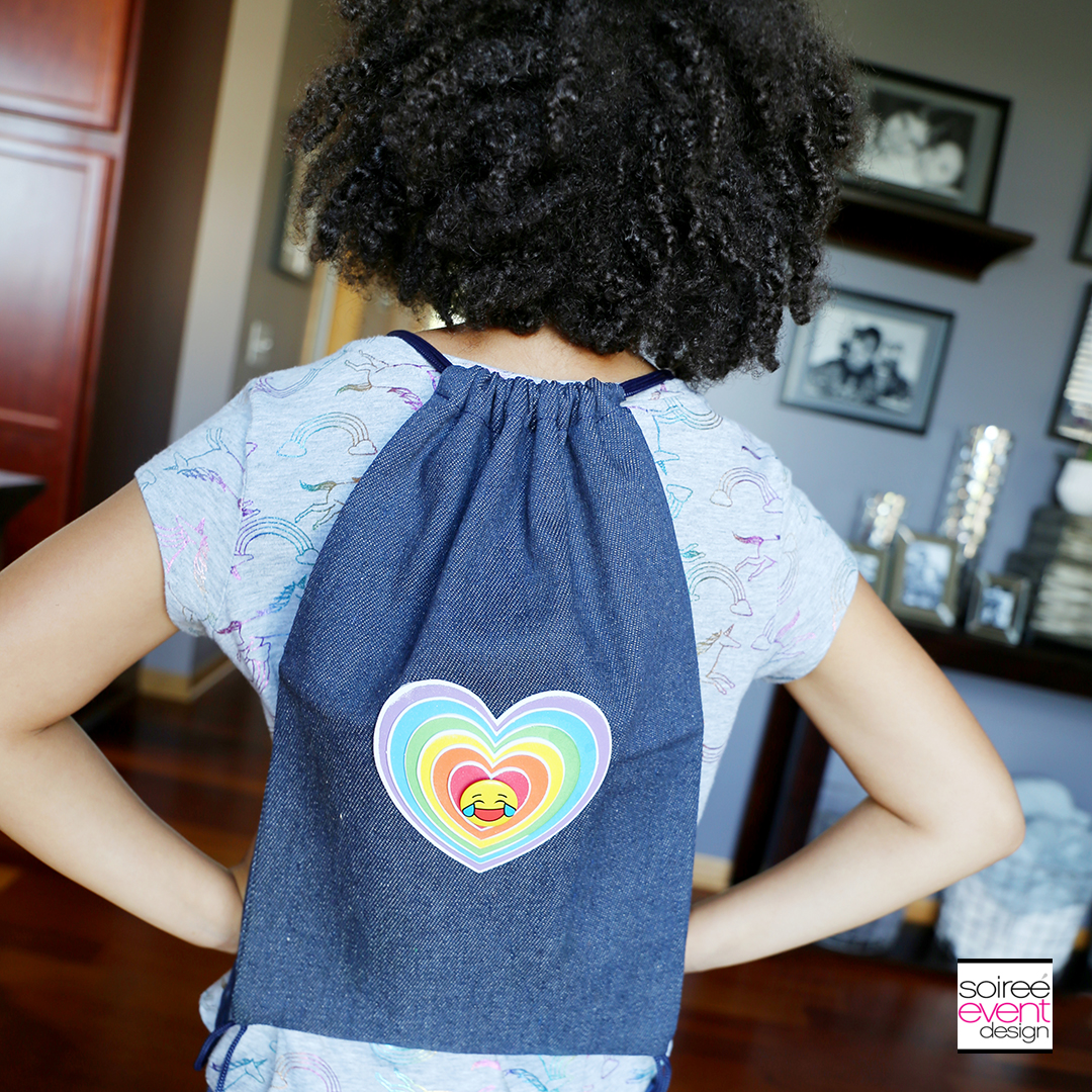 DIY Emoji Denim Backpack - Soiree Event Design