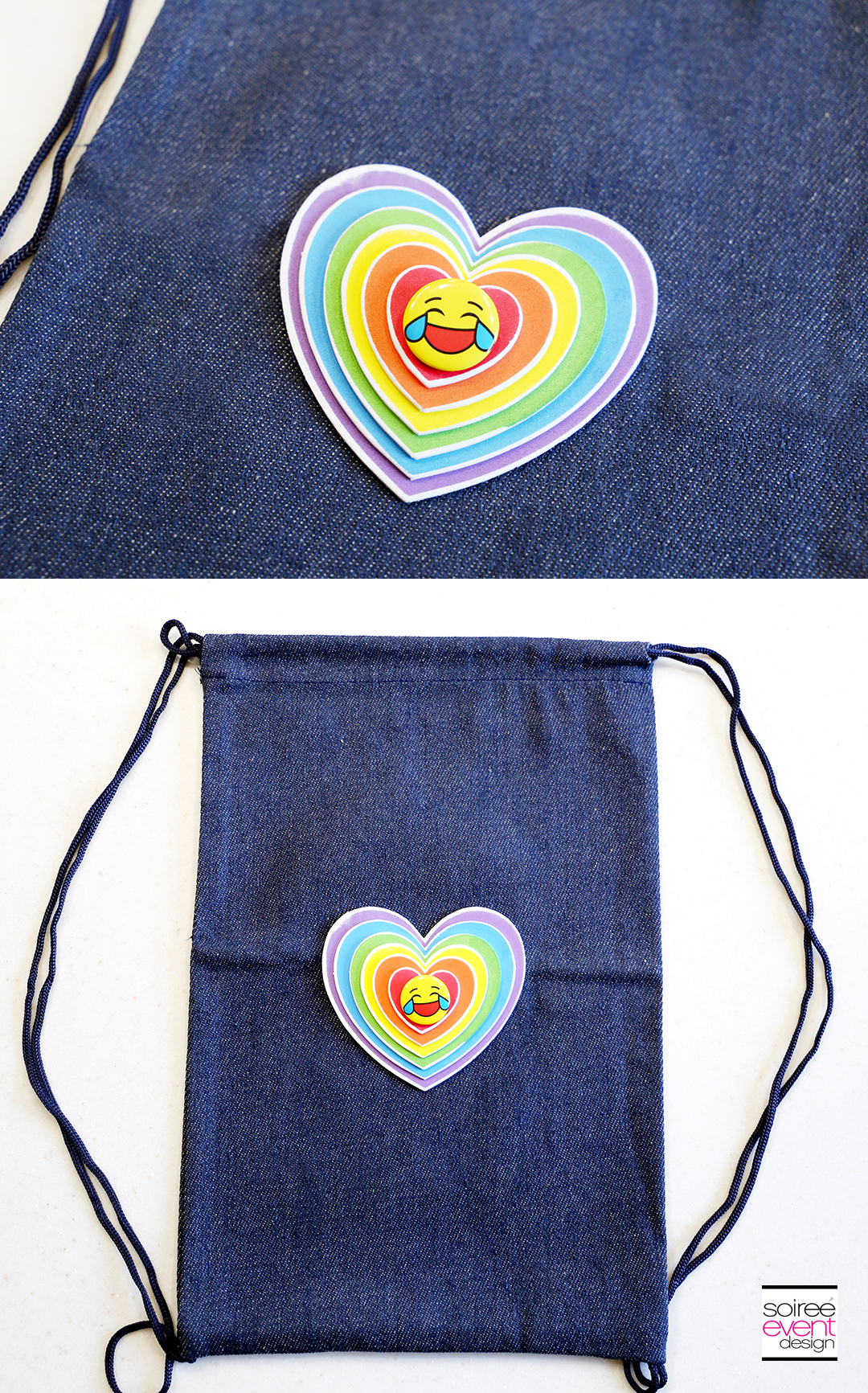 DIY Emoji Denim Backpack Step 3