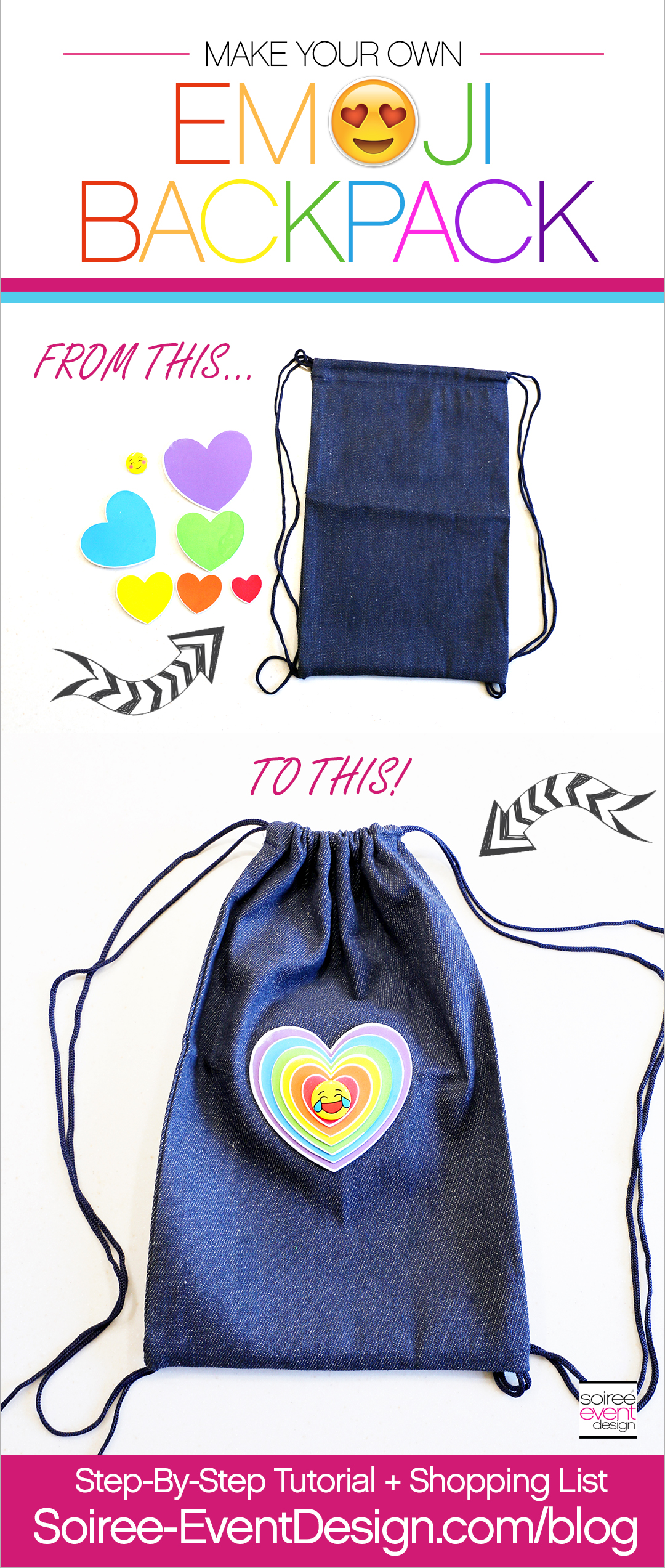 DIY Emoji Denim Backpack Tutorial