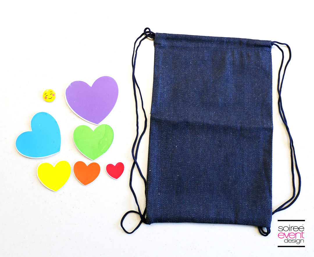 DIY Emoji Denim Backpack - supplies
