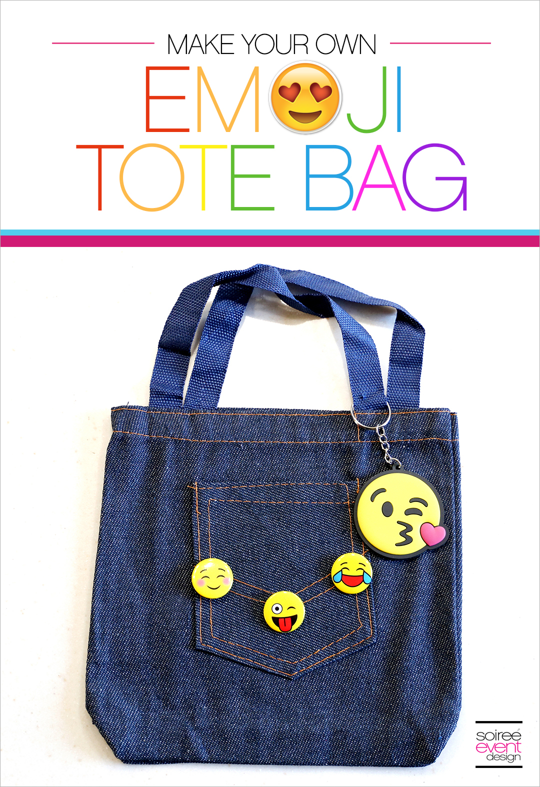DIY Emoji Denim Tote Bag - Soiree Event Design