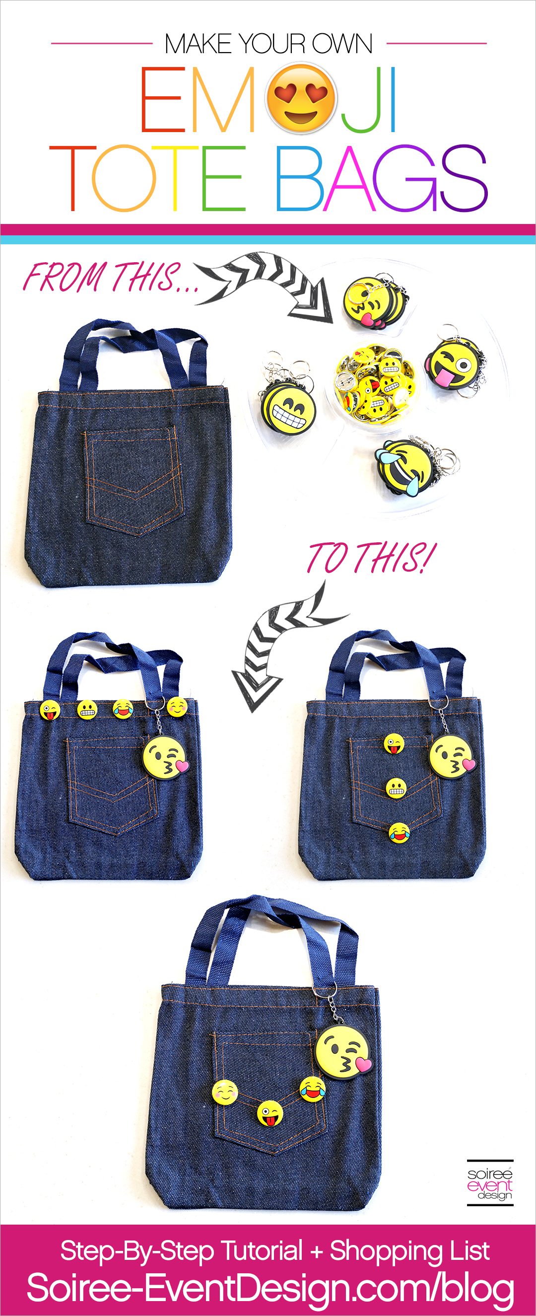 DIY Emoji Denim Tote Bag Tutorial