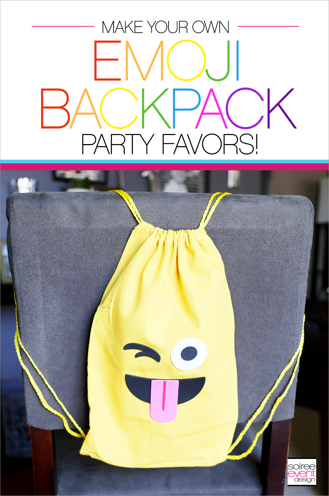 Emoji Backpacks Party Favors_Soiree Event Design