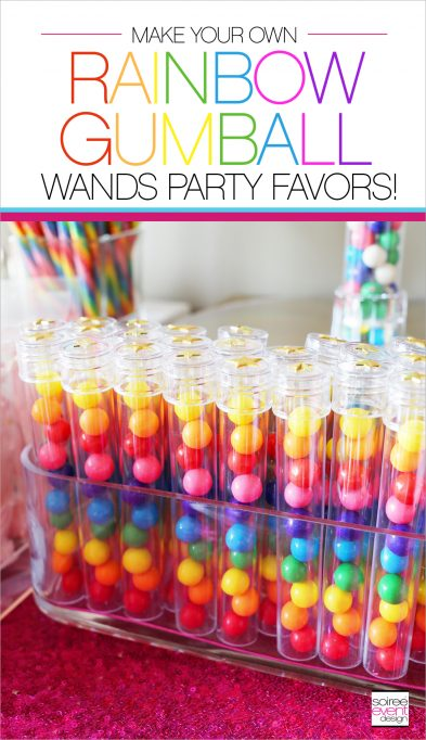 DIY Rainbow Gumball Wands Party Favors