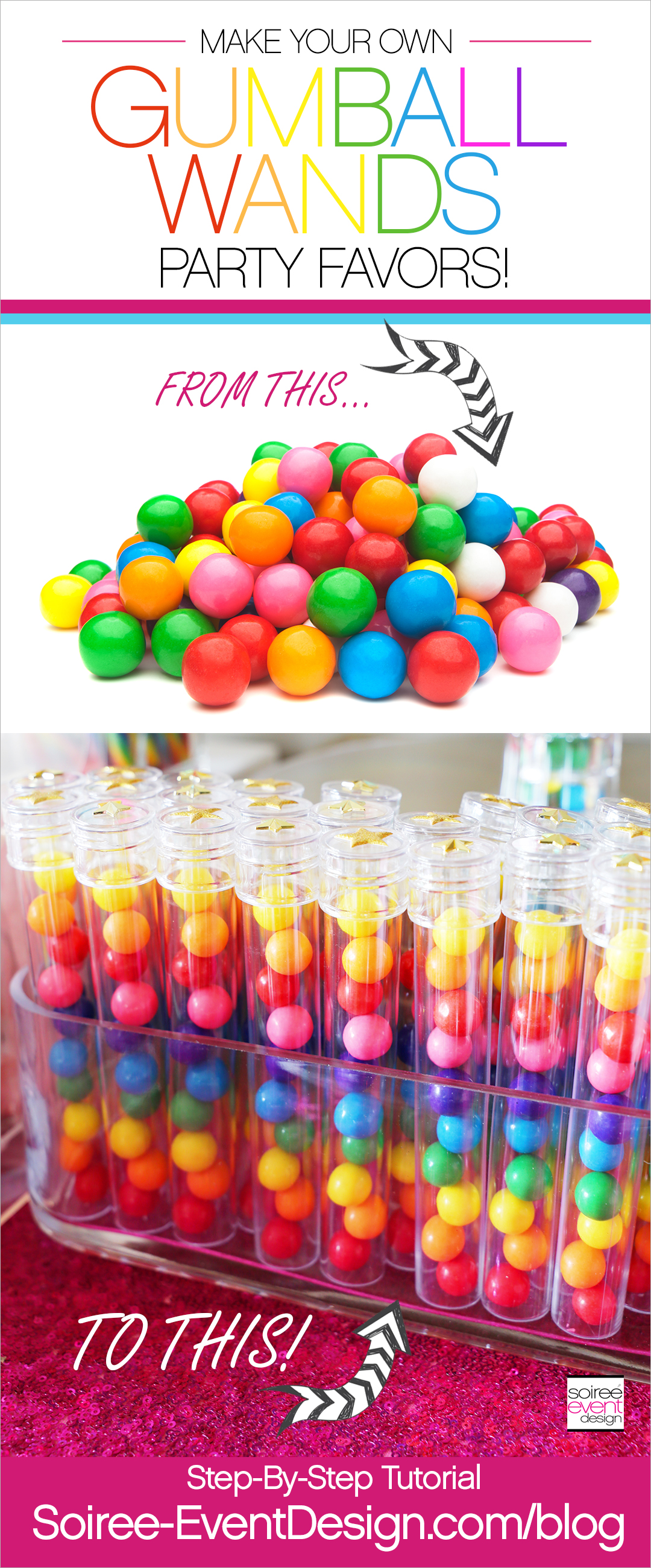 Rainbow Gumball Wands Party Favors Tutorial