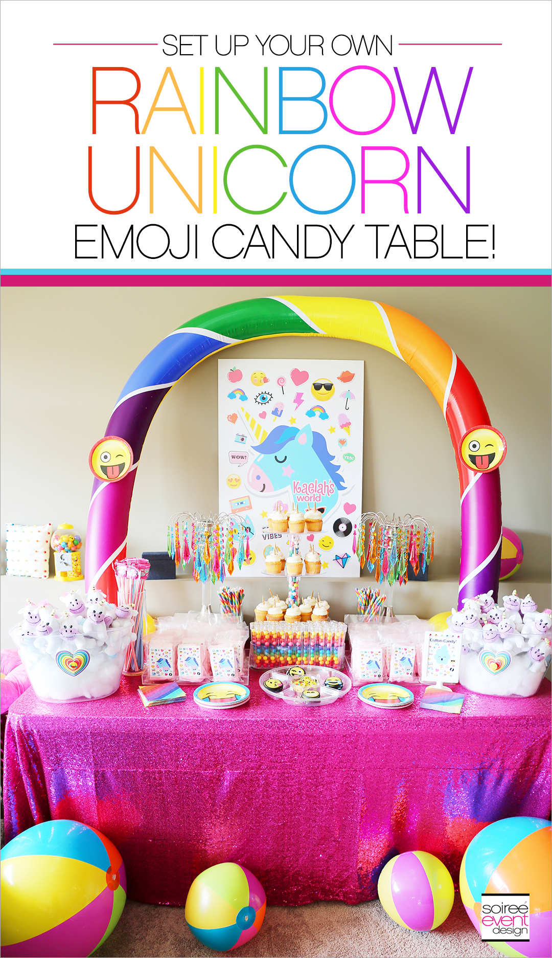 Rainbow Unicorn Emoji Party Ideas - Candy Table