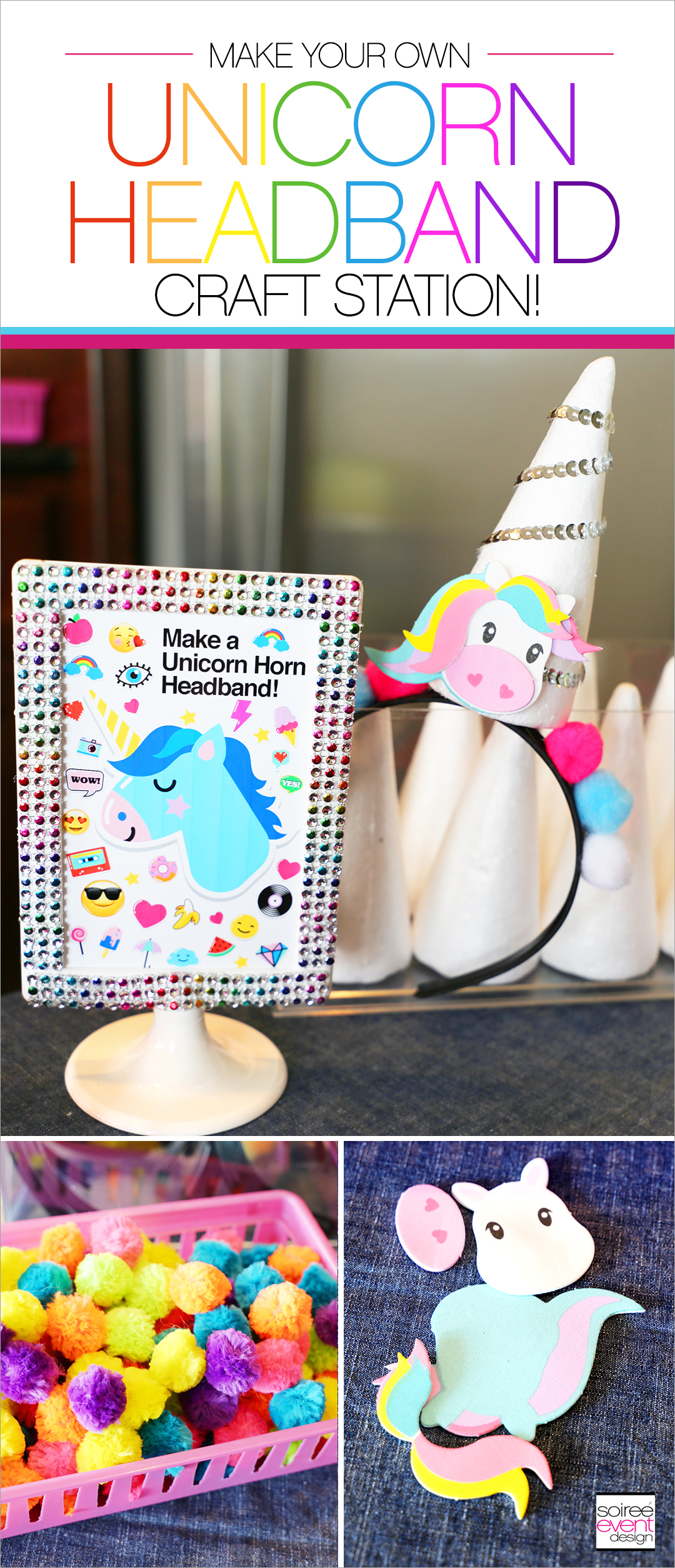 Rainbow Unicorn Emoji Party Ideas - DIY Unicorn Headbands