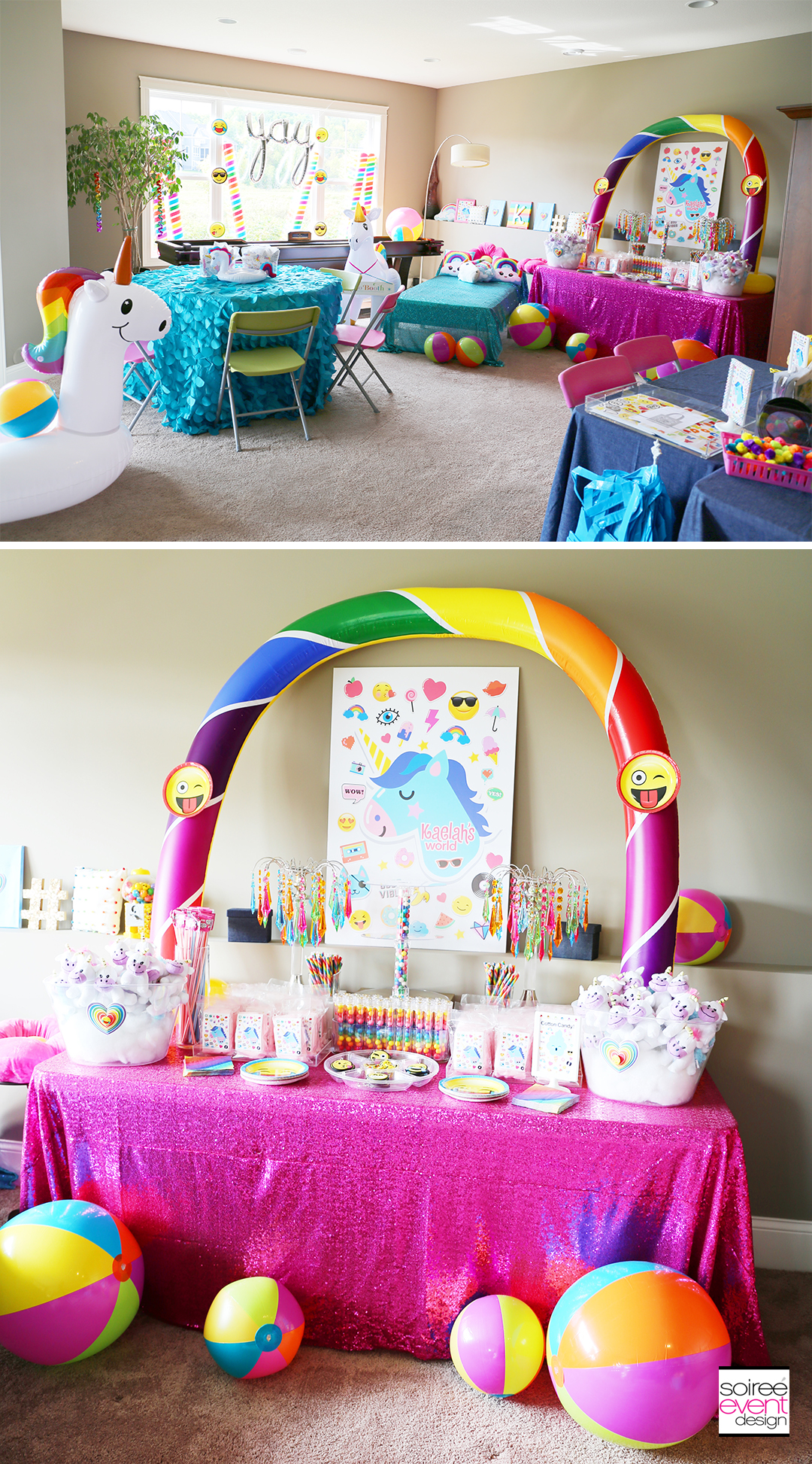 Rainbow Unicorn Emoji Party Ideas - Decorations