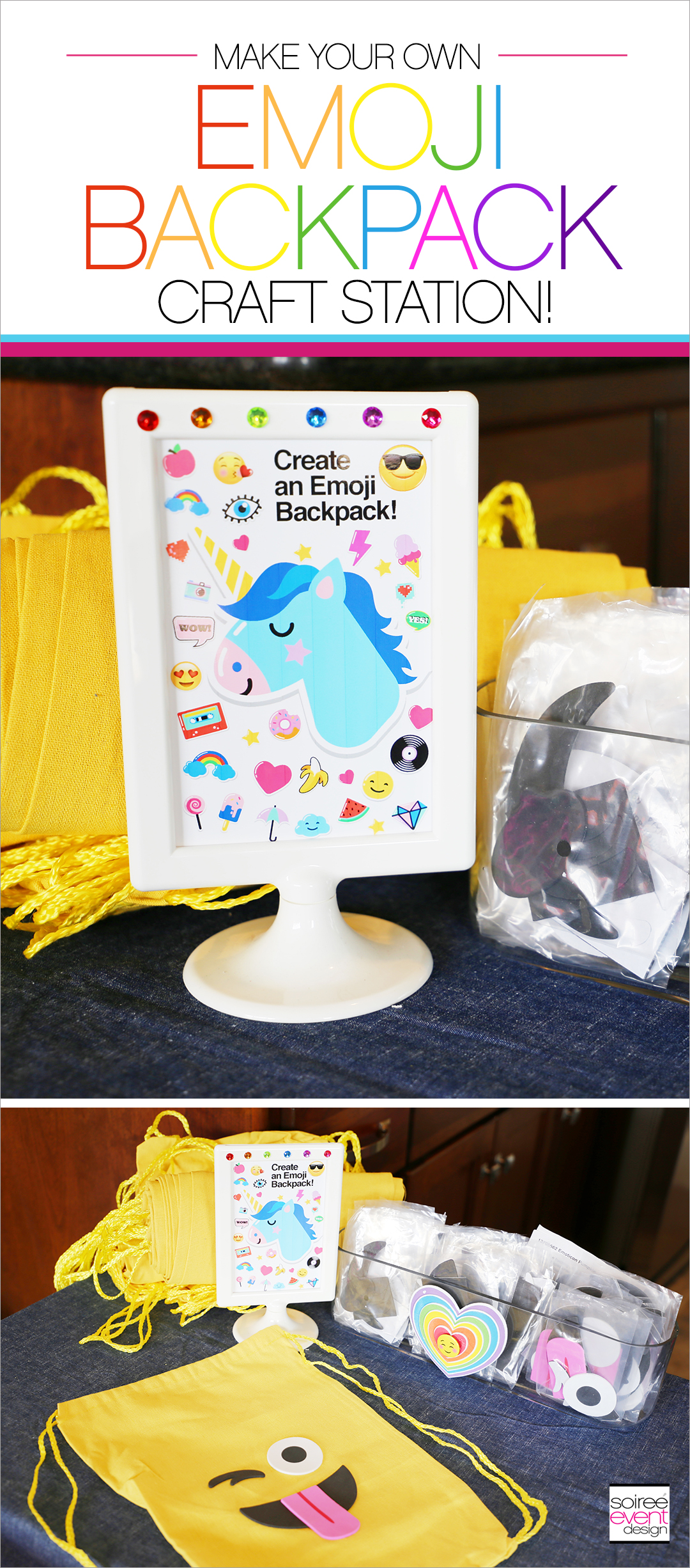 Rainbow Unicorn Emoji Party Ideas - Emoji Backpacks