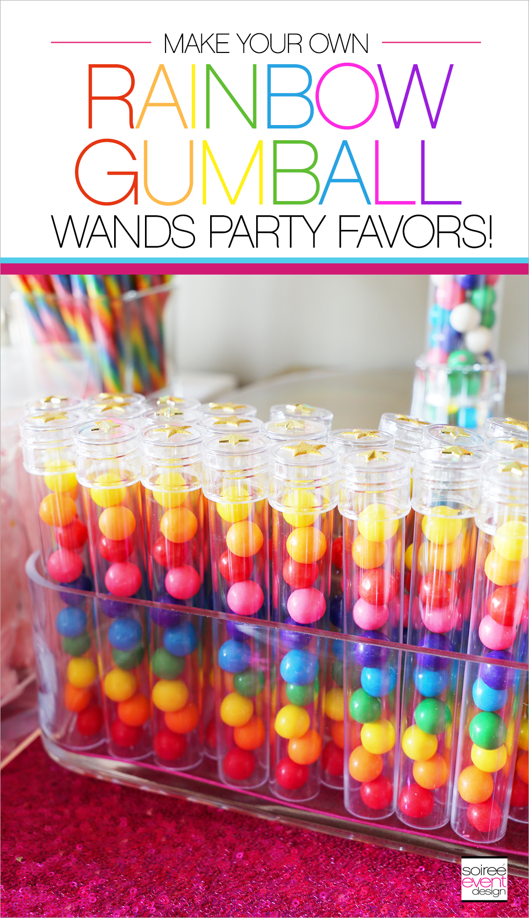 Rainbow Unicorn Emoji Party Ideas - Gumball Wands