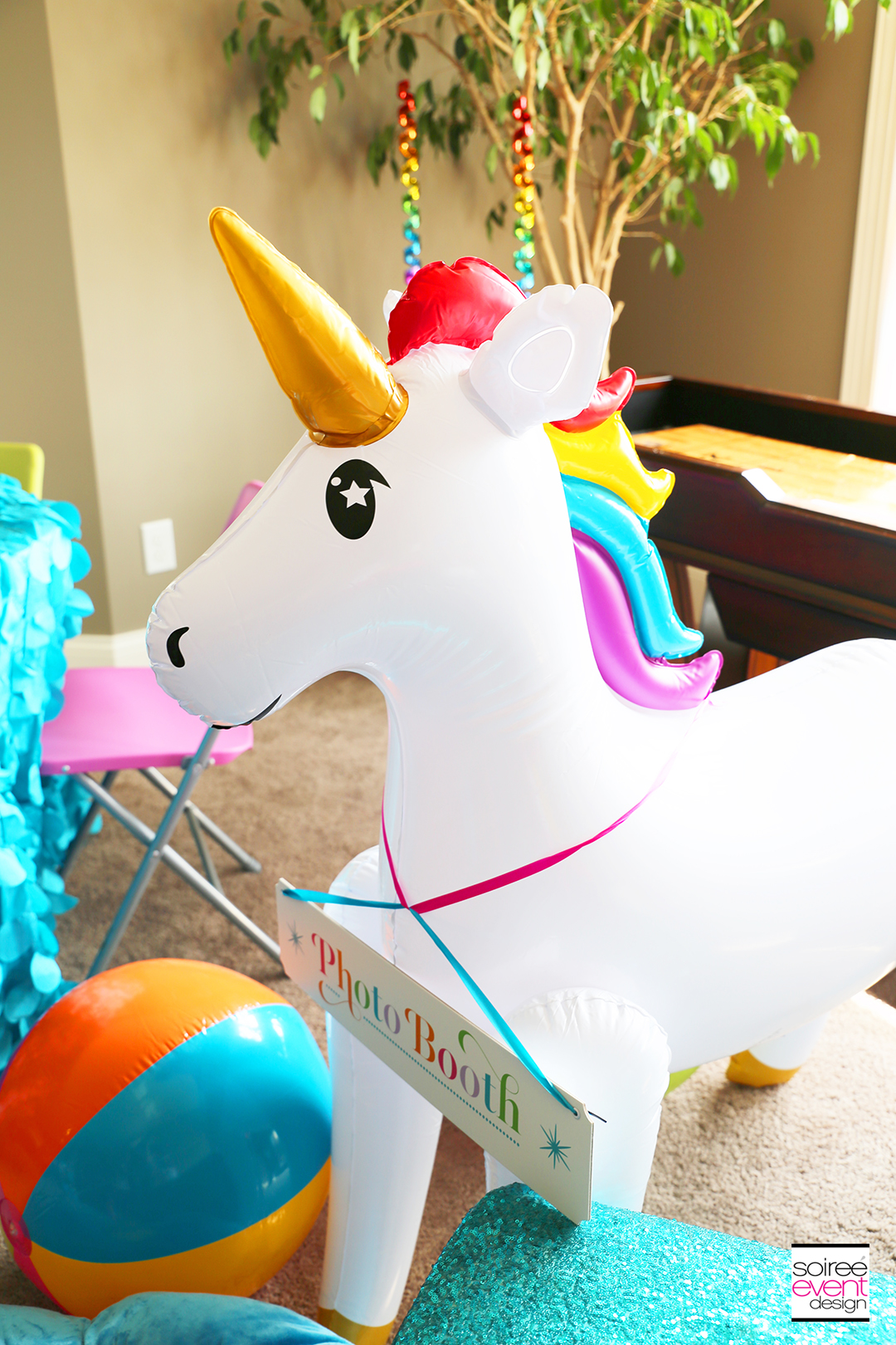 Rainbow Unicorn Emoji Party Ideas - Inflatable Unicorn