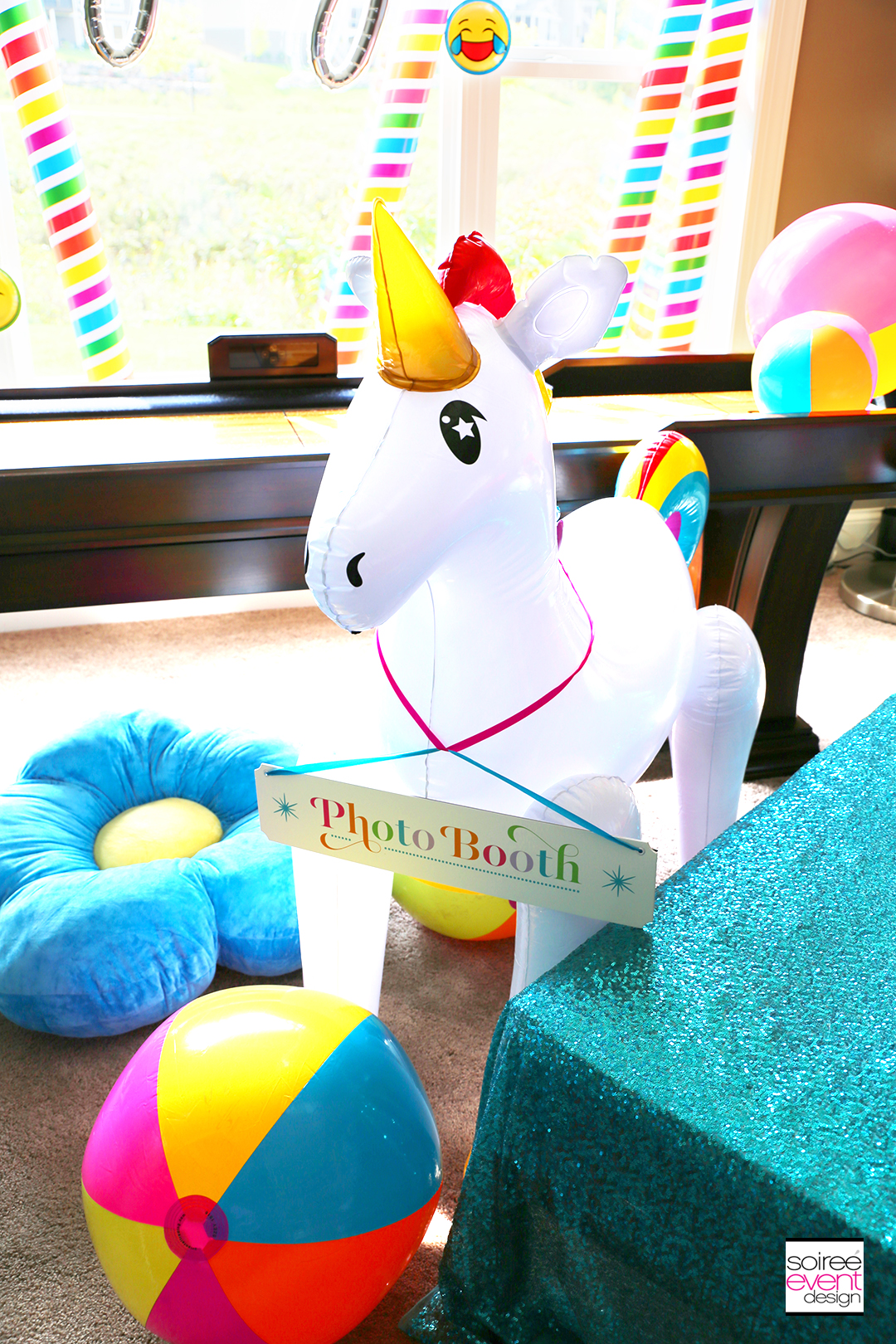 Rainbow Unicorn Emoji Party Ideas - Photo Booth