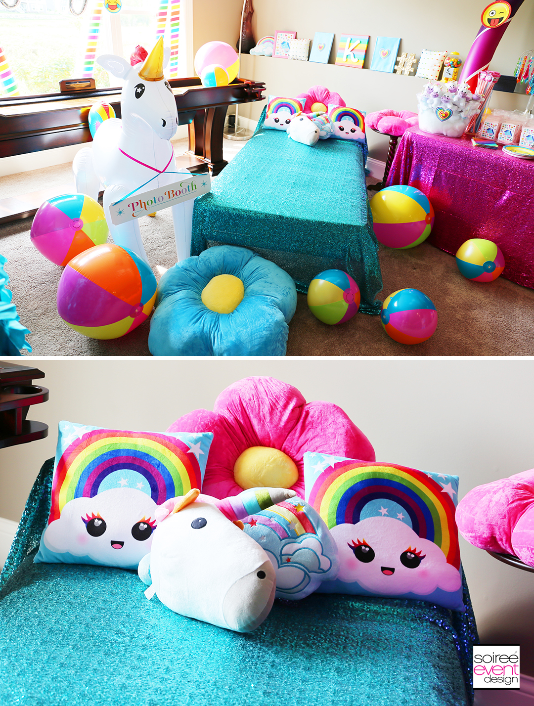 Rainbow Unicorn Emoji Party Ideas - Pillows