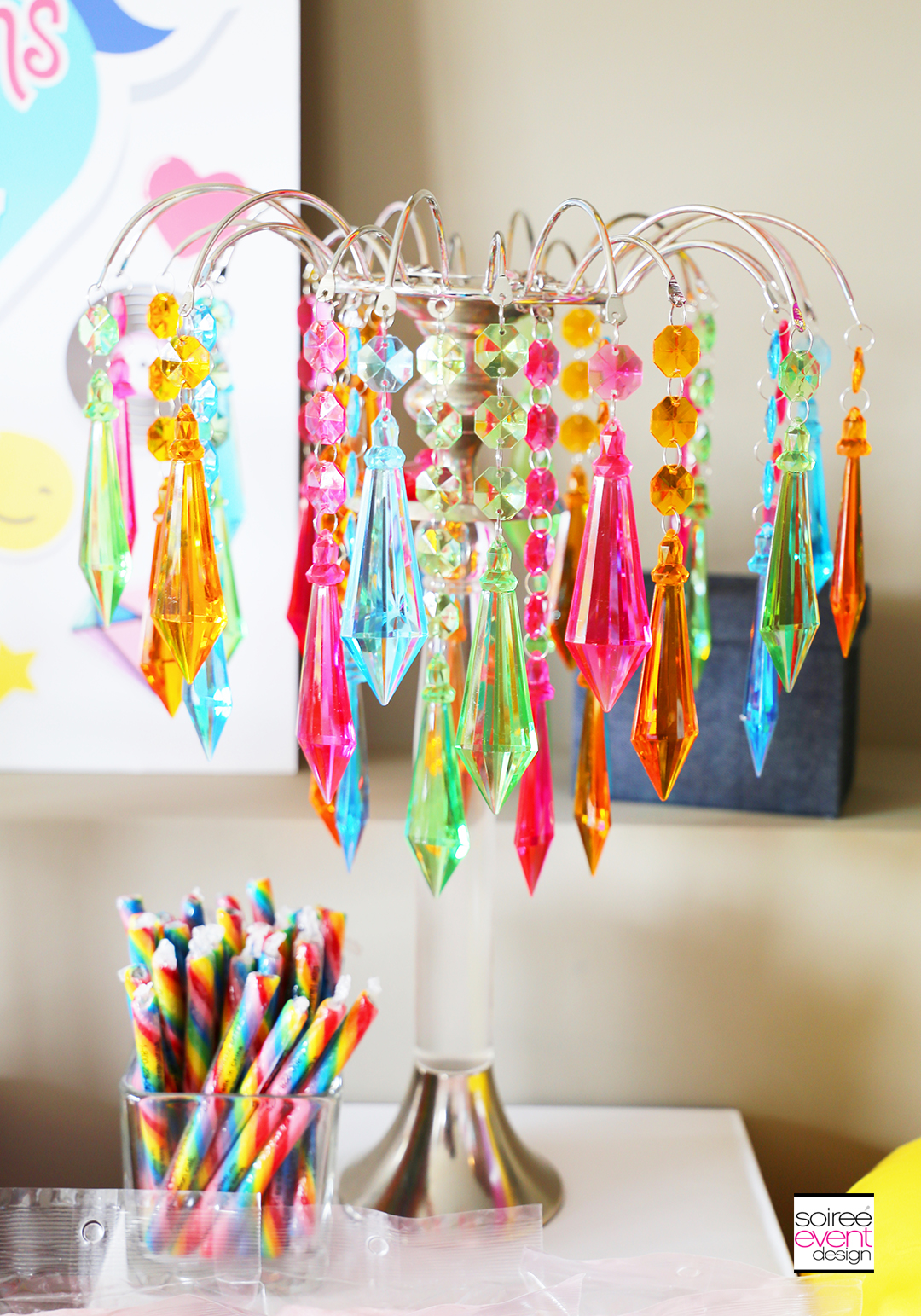 Rainbow Unicorn Emoji Party Ideas - Rainbow Chandelier